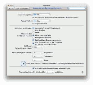 Über die Systemeinstellungen lässt sich die Autostartfunktion vormals geöffneter Programme u. Fenster systemweit abschalten.